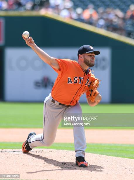 Lance McCullers Jr #43 the Houston Astros pitches during the game against the Detroit Tigers at Comerica Park on July 30 2017 in Detroit Michigan The...