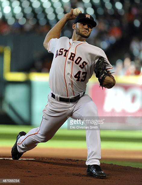 Lance McCullers of the Houston Astros delivers a pitch during the first inning against the Minnesota Twins at Minute Maid Park on September 5 2015 in...