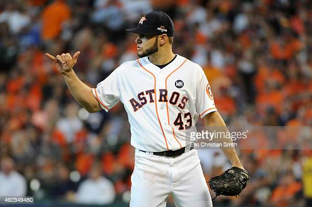 Lance McCullers of the Houston Astros gestures after a play in the first inning against the Kansas City Royals during game four of the American...