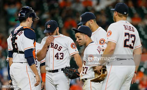 Lance McCullers of the Houston Astros leaves the game in the fifth inning with an unknown ailment at Minute Maid Park on August 2 2016 in Houston...