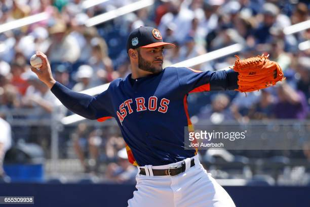 Lance McCullers of the Houston Astros pitches against the New York Yankees in the first inning during a spring training game at The Ballpark of the...