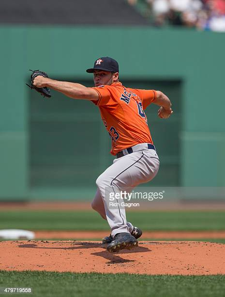 Lance McCullers of the Houston Astros pitches during the first inning against the Boston Red Sox at Fenway Park on July 5 2015 in Boston...