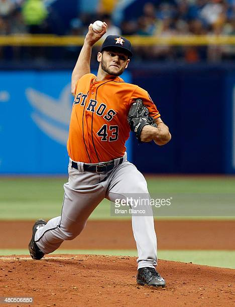Lance McCullers of the Houston Astros pitches during the first inning of a game against the Tampa Bay Rays on July 12 2015 at Tropicana Field in St...