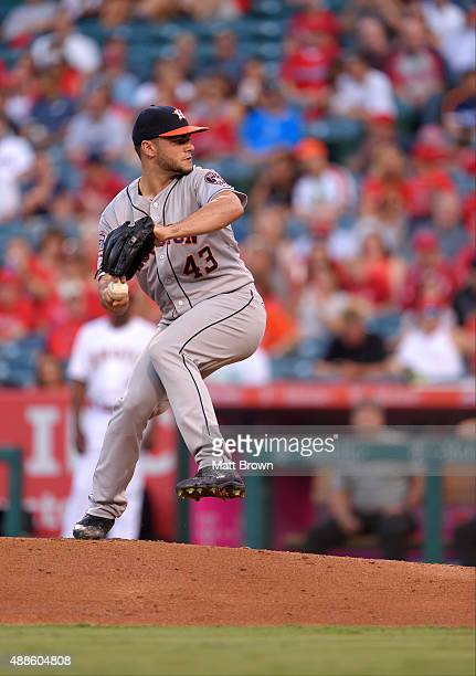 Lance McCullers of the Houston Astros pitches during the first inning of the game against the Los Angeles Angels of Anaheim at Angel Stadium of...