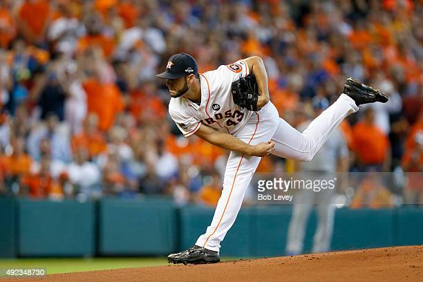 Lance McCullers of the Houston Astros pitches in the first inning against the Kansas City Royals during game four of the American League Divison...