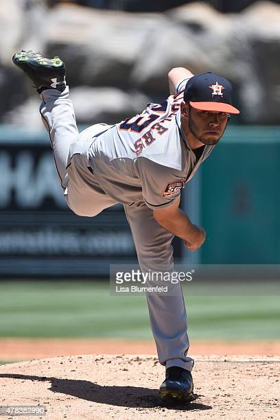 Lance McCullers of the Houston Astros pitches in the third inning against the Los Angeles Angels of Anaheim at Angel Stadium of Anaheim on June 24...