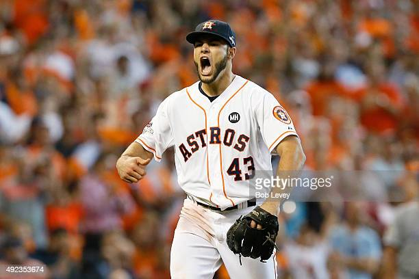 Lance McCullers of the Houston Astros reacts after the third out in the sixth inning against the Kansas City Royals during game four of the American...