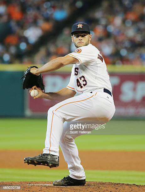 Lance McCullers of the Houston Astros throws a pitch in the fifth inning during their game against the Los Angeles Dodgers at Minute Maid Park on...