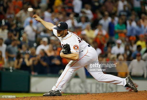 Lance McCullers of the Houston Astros throws a pitch in the ninth inning during their game against the Baltimore Orioles at Minute Maid Park on June...