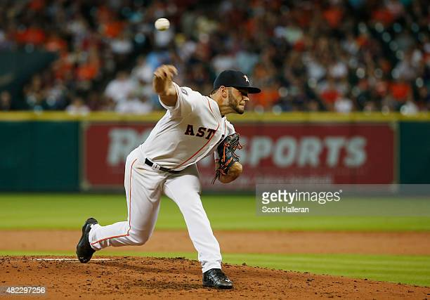 Lance McCullers of the Houston Astros throws a pitch in the third inning during their game against the Los Angeles Angels of Anaheim at Minute Maid...