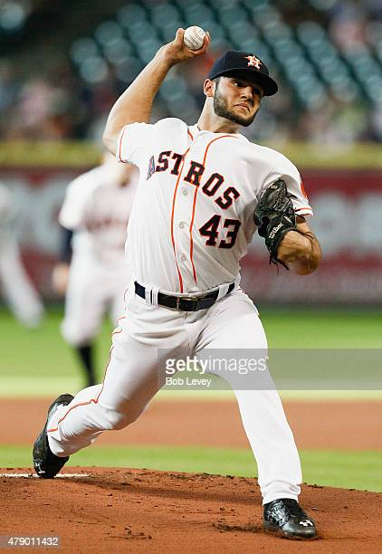Lance McCullers of the Houston Astros throws in the first inning against the Kansas City Royals at Minute Maid Park on June 29 2015 in Houston Texas