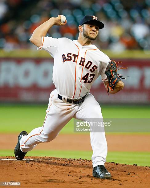 Lance McCullers of the Houston Astros throws in the first inning against the Boston Red Sox at Minute Maid Park on July 23 2015 in Houston Texas