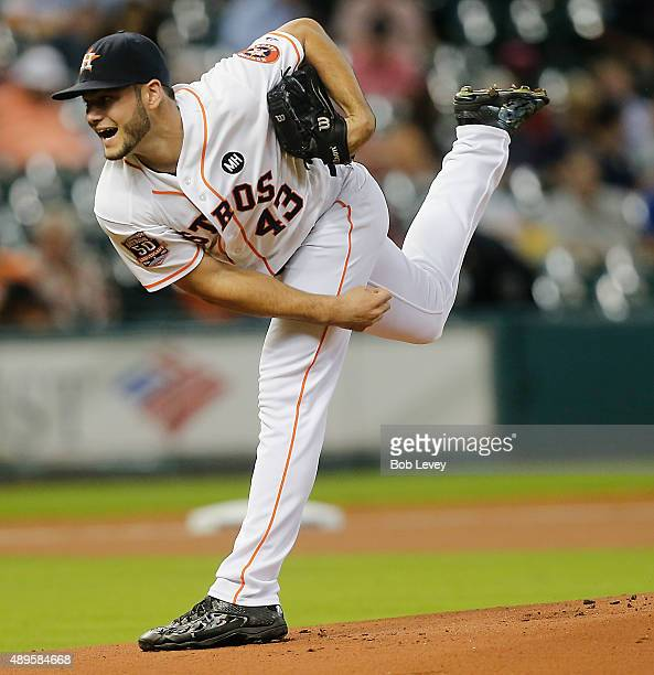 Lance McCullers of the Houston Astros throws in the first inning against the Los Angeles Angels of Anaheim at Minute Maid Park on September 22 2015...