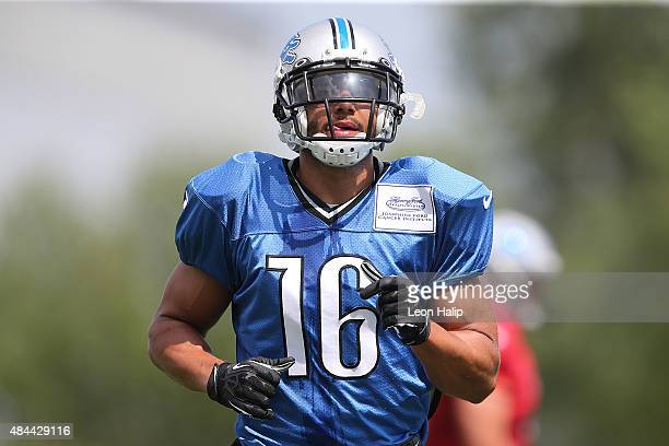 Lance Moore of the Detroit Lions goes through the afternoon drills during training camp on August 18 2015 at Detroit Lions Training Facility Allen...
