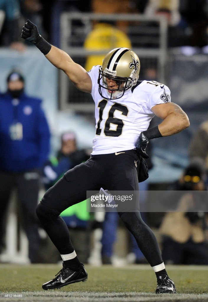 <a gi-track='captionPersonalityLinkClicked' href=/galleries/search?phrase=Lance+Moore&family=editorial&specificpeople=748984 ng-click='$event.stopPropagation()'>Lance Moore</a> #16 of the New Orleans Saints celebrates after scoring a 24 yard touchdown thrown by Drew Brees #9 in the third quarter against the Philadelphia Eagles during their NFC Wild Card Playoff game at Lincoln Financial Field on January 4, 2014 in Philadelphia, Pennsylvania.