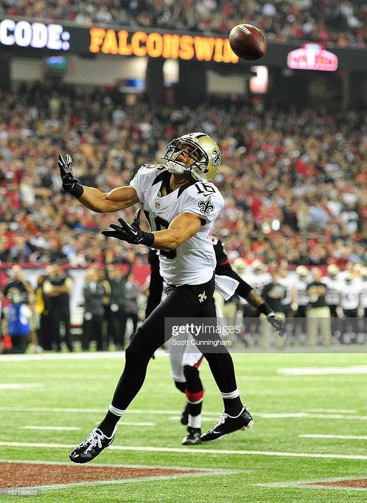 <a gi-track='captionPersonalityLinkClicked' href=/galleries/search?phrase=Lance+Moore&family=editorial&specificpeople=748984 ng-click='$event.stopPropagation()'>Lance Moore</a> #16 of the New Orleans Saints is unable to make a catch in the end zone against the Atlanta Falcons at the Georgia Dome on November 29, 2012 in Atlanta, Georgia