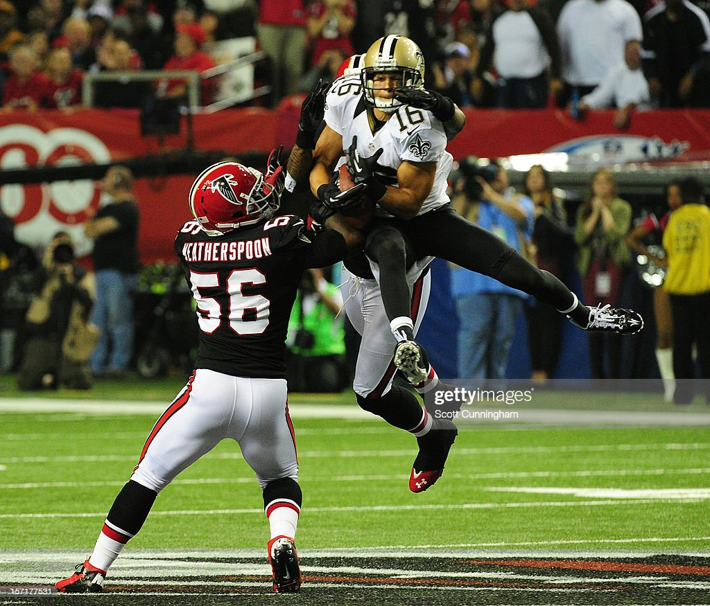 <a gi-track='captionPersonalityLinkClicked' href=/galleries/search?phrase=Lance+Moore&family=editorial&specificpeople=748984 ng-click='$event.stopPropagation()'>Lance Moore</a> #16 of the New Orleans Saints makes a catch against <a gi-track='captionPersonalityLinkClicked' href=/galleries/search?phrase=Sean+Weatherspoon&family=editorial&specificpeople=4532907 ng-click='$event.stopPropagation()'>Sean Weatherspoon</a> #56 of the Atlanta Falcons at the Georgia Dome on November 29, 2012 in Atlanta, Georgia