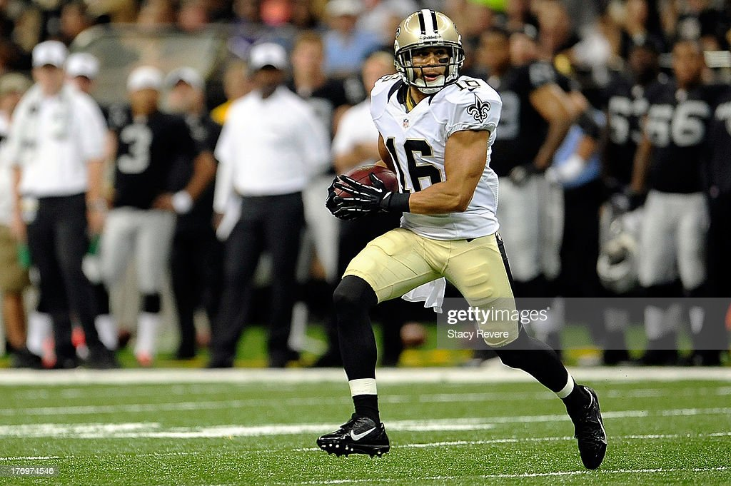 Lance Moore #16 of the New Orleans Saints runs for yards following a reception during a preseason game against the Oakland Raiders at the Mercedes-Benz Superdome on August 16, 2013 in New Orleans, Louisiana. The Saints won 28-20.