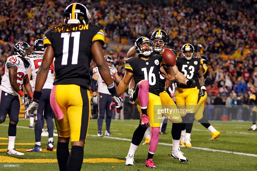 Lance Moore #16 of the Pittsburgh Steelers celebrates after catching a touchdown passed by Antonio Brown #84 in the second quarter against the Houston Texans during their game at Heinz Field on October 20, 2014 in Pittsburgh, Pennsylvania.