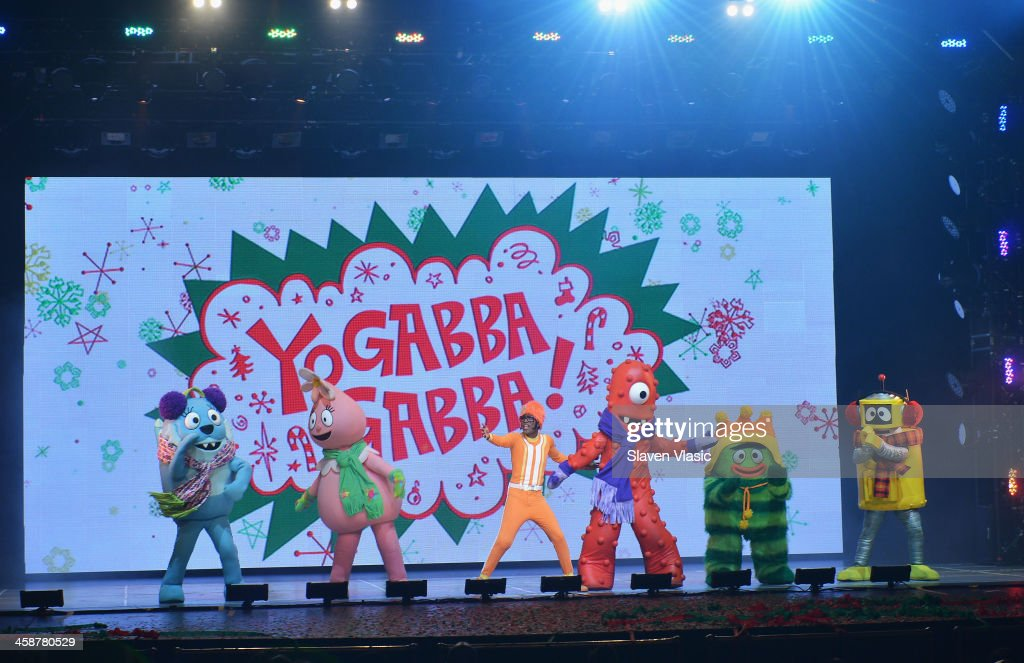 DJ Lance Rock (C) with Muno, Foofa, Brobee, Toodee and Plex perform at 'Yo Gabba Gabba! Live!' at The Beacon Theatre on December 21, 2013 in New York City.