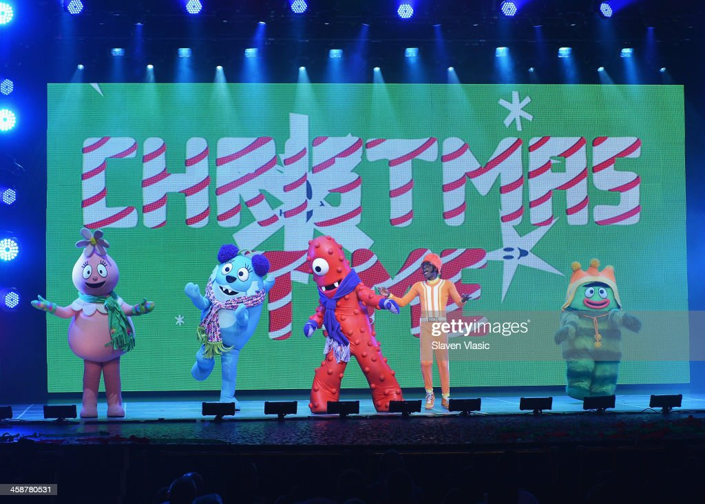 DJ Lance Rock (2nd R) with Muno, Foofa, Brobee, Toodee and Plex perform at 'Yo Gabba Gabba! Live!' at The Beacon Theatre on December 21, 2013 in New York City.