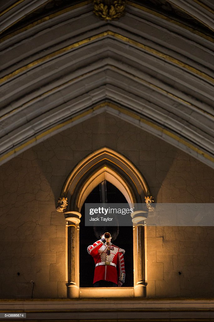 Lance Sergeant Stuart Laing from the Welsh Guards rehearses the Last Post on a bugle that was sounded at the Battle of the Somme at Westminster Abbey on June 30, 2016 in London, England. The bugle will be played from the Lantern Tower at Westminster Abbey during a service on the eve of the Battle of the Somme centenary attended by the Queen. The bugle is kept at the Welsh Guards Regimental HQ at Wellington Barracks in London and was used daily along the reserve line as an efficient way of communicating orders.