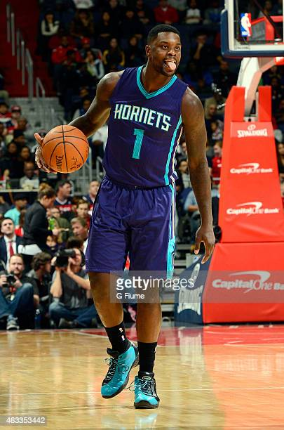 Lance Stephenson of the Charlotte Hornets handles the ball against the Washington Wizards at the Verizon Center on February 2 2015 in Washington DC