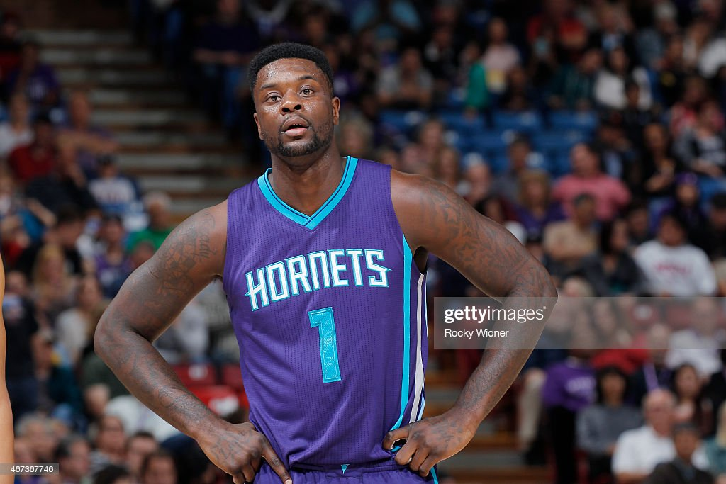Lance Stephenson of the Charlotte Hornets looks on during the game against the Sacramento Kings on March 20 2015 at Sleep Train Arena in Sacramento...