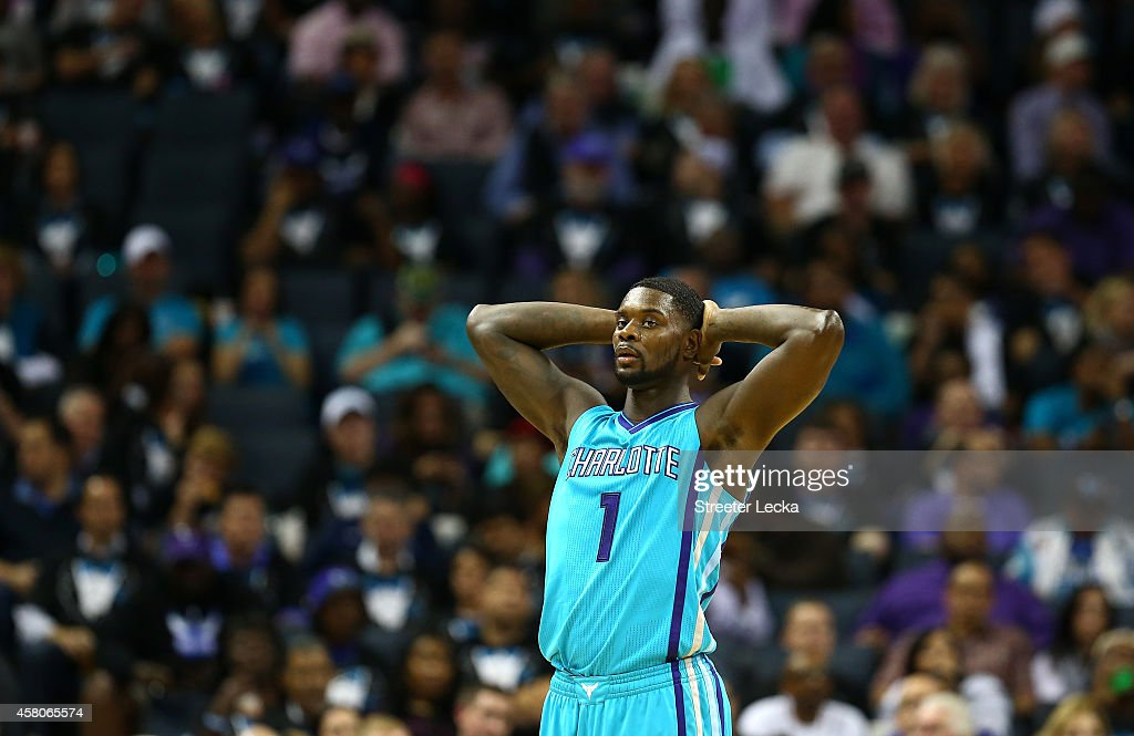 Lance Stephenson of the Charlotte Hornets reacts after a call during their game against the Milwaukee Bucks at Time Warner Cable Arena on October 29...