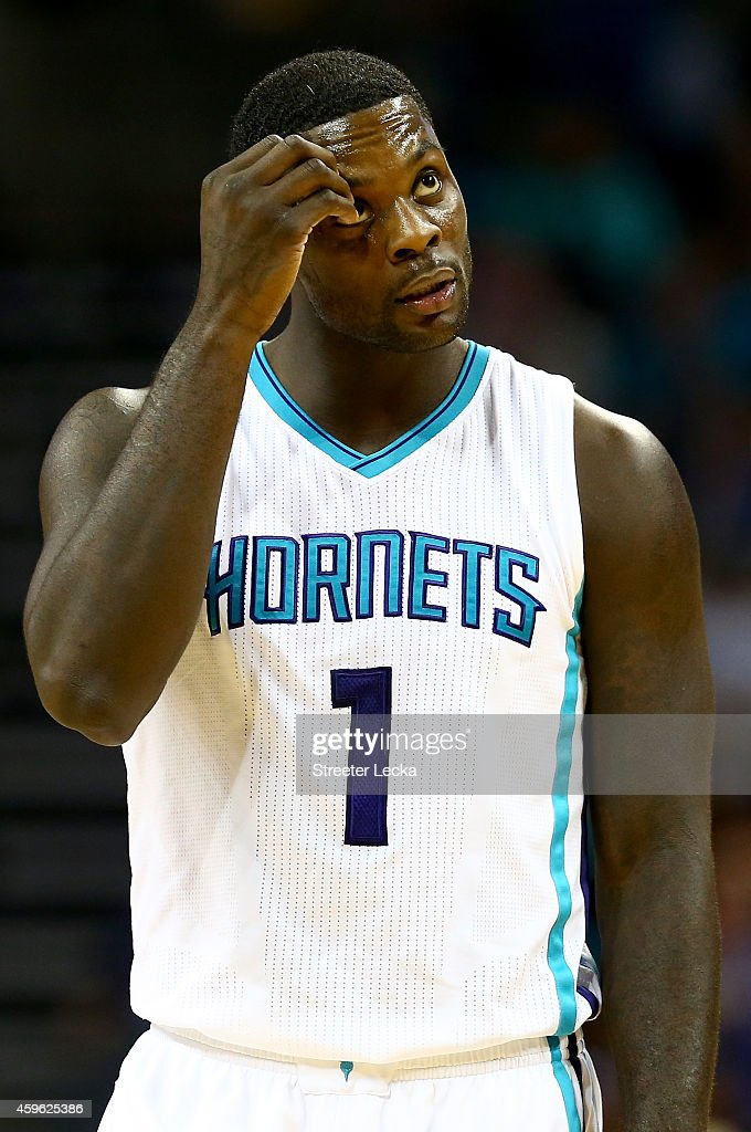 Lance Stephenson of the Charlotte Hornets reacts after a call during their game against the Portland Trail Blazers at Time Warner Cable Arena on...