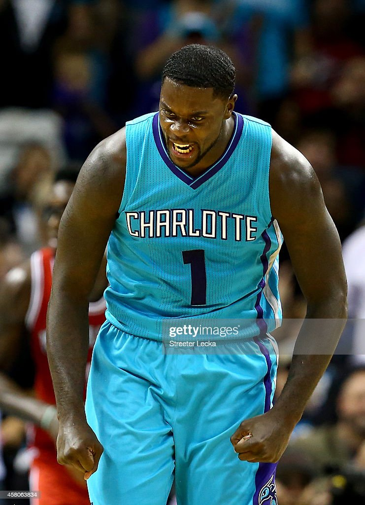 Lance Stephenson of the Charlotte Hornets reacts after a shot against the Milwaukee Bucks during their game at Time Warner Cable Arena on October 29...