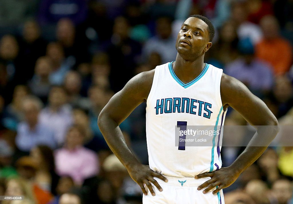 Lance Stephenson of the Charlotte Hornets reacts to a call against the Los Angeles Clippers during their game at Time Warner Cable Arena on November...