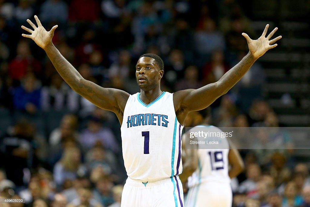 Lance Stephenson of the Charlotte Hornets runs reacts as he runs down the court during their game against the Portland Trail Blazers at Time Warner...