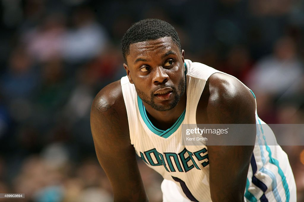 Lance Stephenson of the Charlotte Hornets stands on the court during a game against the Chicago Bulls at the Time Warner Cable Arena on December 3...