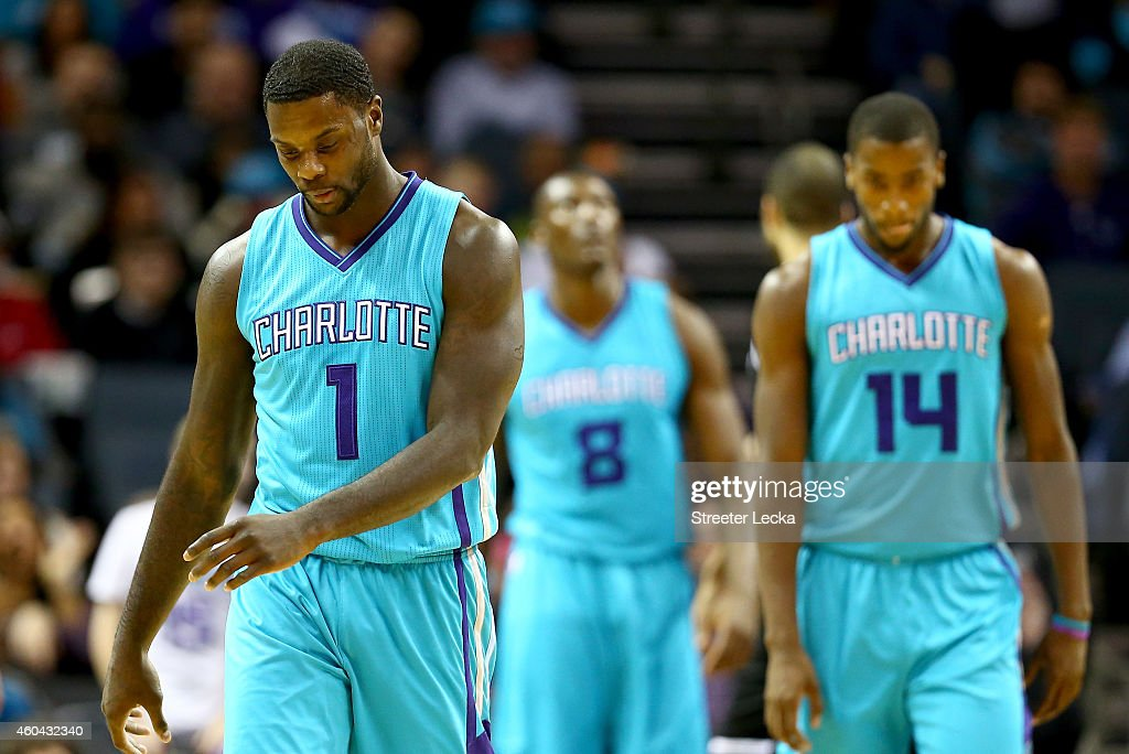 Lance Stephenson of the Charlotte Hornets walks off the court against the Brooklyn Nets during their game at Time Warner Cable Arena on December 13...