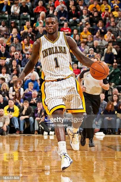 Lance Stephenson of the Indiana Pacers advances the ball against the Chicago Bulls on March 3 2013 at Bankers Life Fieldhouse in Indianapolis Indiana...