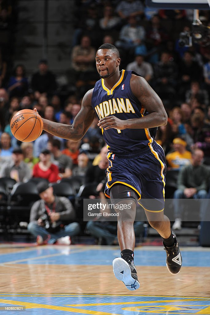 <a gi-track='captionPersonalityLinkClicked' href=/galleries/search?phrase=Lance+Stephenson&family=editorial&specificpeople=5298304 ng-click='$event.stopPropagation()'>Lance Stephenson</a> #1 of the Indiana Pacers brings the ball up court against the Denver Nuggets on January 28, 2013 at the Pepsi Center in Denver, Colorado.