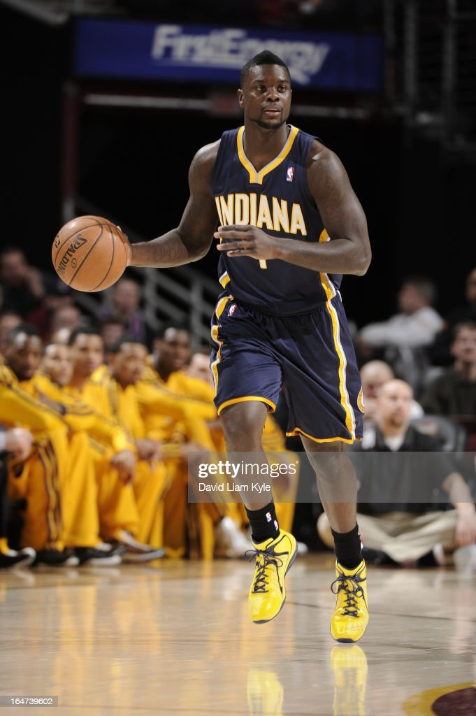 <a gi-track='captionPersonalityLinkClicked' href=/galleries/search?phrase=Lance+Stephenson&family=editorial&specificpeople=5298304 ng-click='$event.stopPropagation()'>Lance Stephenson</a> #1 of the Indiana Pacers brinsg the ball up court against the Cleveland Cavaliers at The Quicken Loans Arena on March 18, 2013 in Cleveland, Ohio.