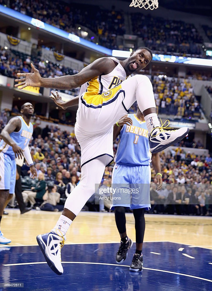 <a gi-track='captionPersonalityLinkClicked' href=/galleries/search?phrase=Lance+Stephenson&family=editorial&specificpeople=5298304 ng-click='$event.stopPropagation()'>Lance Stephenson</a> #1 of the Indiana Pacers celebrates after scoring a basket during the game against the Denver Nuggets at Bankers Life Fieldhouse on February 10, 2014 in Indianapolis, Indiana.