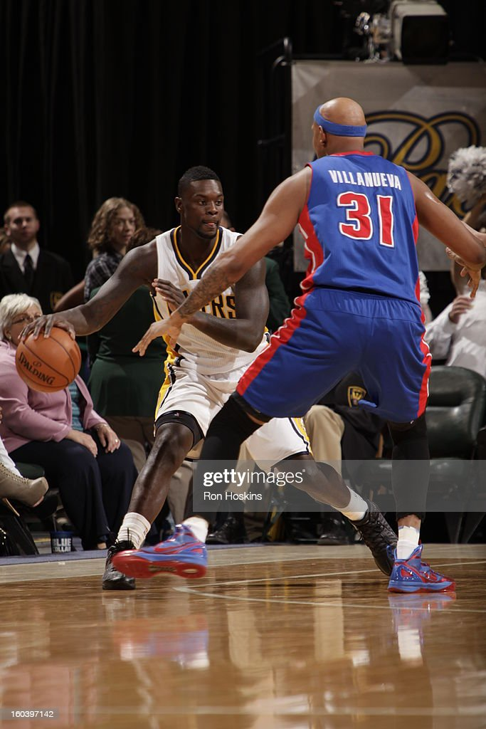 Lance Stephenson #1 of the Indiana Pacers controls the ball against Charlie Villanueva #31 of the Detroit Pistons on January 30, 2013 at Bankers Life Fieldhouse in Indianapolis, Indiana.
