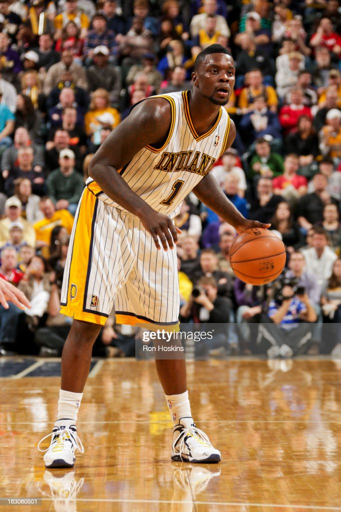 <a gi-track='captionPersonalityLinkClicked' href=/galleries/search?phrase=Lance+Stephenson&family=editorial&specificpeople=5298304 ng-click='$event.stopPropagation()'>Lance Stephenson</a> #1 of the Indiana Pacers controls the ball against the Chicago Bulls on March 3, 2013 at Bankers Life Fieldhouse in Indianapolis, Indiana.