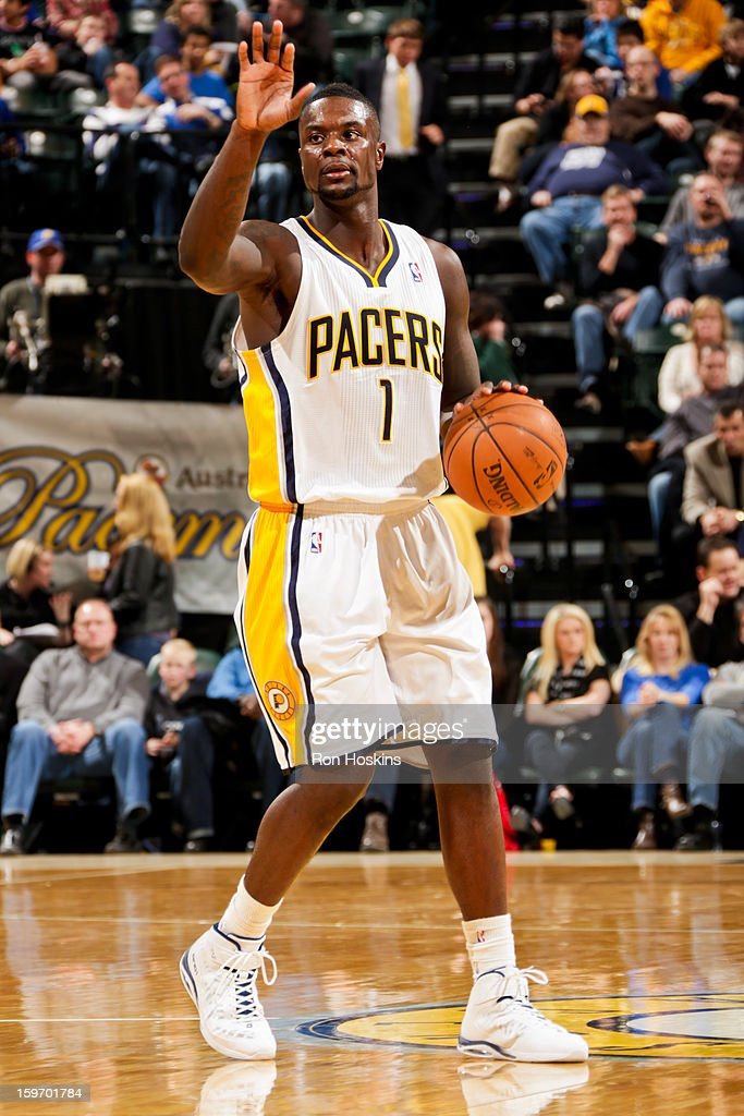 Lance Stephenson #1 of the Indiana Pacers directs his team against the Houston Rockets on January 18, 2013 at Bankers Life Fieldhouse in Indianapolis, Indiana.