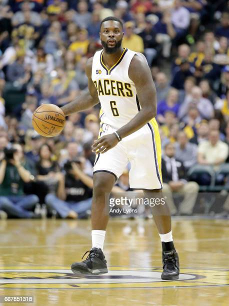 Lance Stephenson of the Indiana Pacers dribbles the ball against the Atlanta Hawks at Bankers Life Fieldhouse on April 12 2017 in Indianapolis...