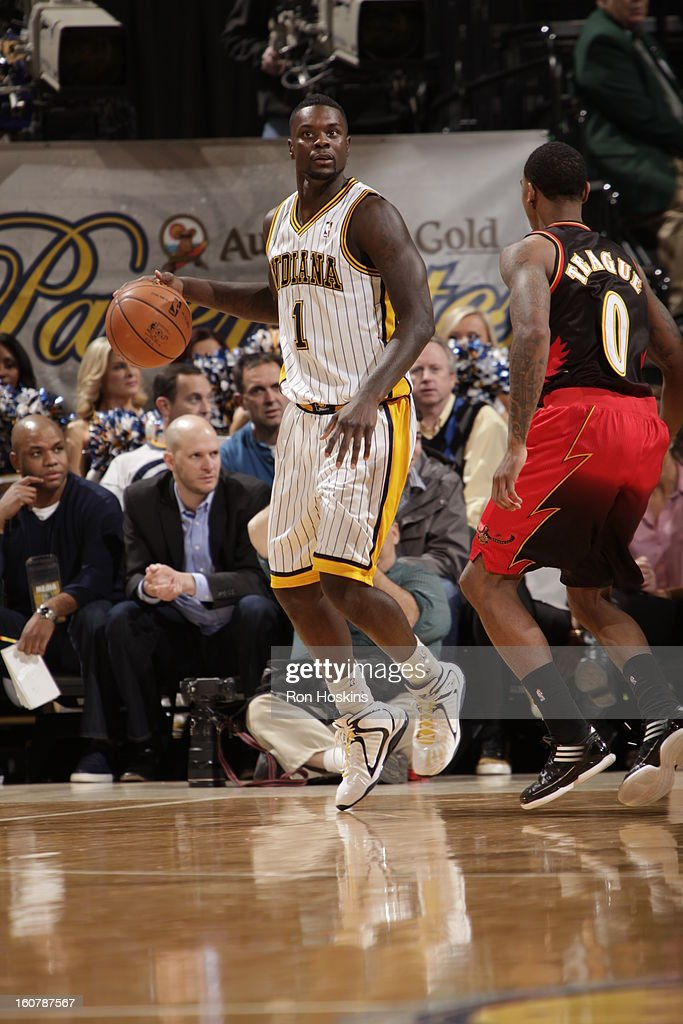 <a gi-track='captionPersonalityLinkClicked' href=/galleries/search?phrase=Lance+Stephenson&family=editorial&specificpeople=5298304 ng-click='$event.stopPropagation()'>Lance Stephenson</a> #1 of the Indiana Pacers dribbles the ball looking to pass against the Atlanta Hawks on February 5, 2013 at Bankers Life Fieldhouse in Indianapolis, Indiana.