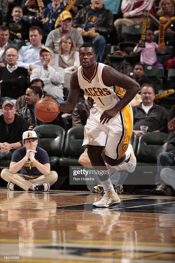 Lance Stephenson #1 of the Indiana Pacers dribbles the ball up the court against the Orlando Magic on March 19, 2013 at Bankers Life Fieldhouse in Indianapolis, Indiana.