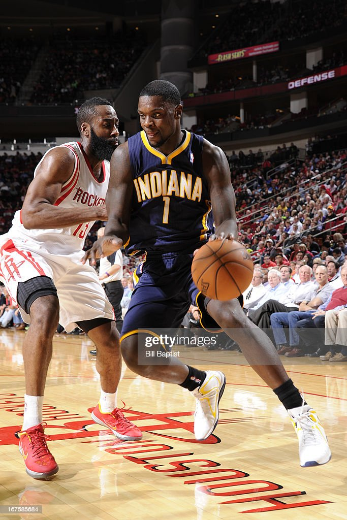 <a gi-track='captionPersonalityLinkClicked' href=/galleries/search?phrase=Lance+Stephenson&family=editorial&specificpeople=5298304 ng-click='$event.stopPropagation()'>Lance Stephenson</a> #1 of the Indiana Pacers drives against <a gi-track='captionPersonalityLinkClicked' href=/galleries/search?phrase=James+Harden&family=editorial&specificpeople=4215938 ng-click='$event.stopPropagation()'>James Harden</a> #13 of the Houston Rockets on March 27, 2013 at the Toyota Center in Houston, Texas.