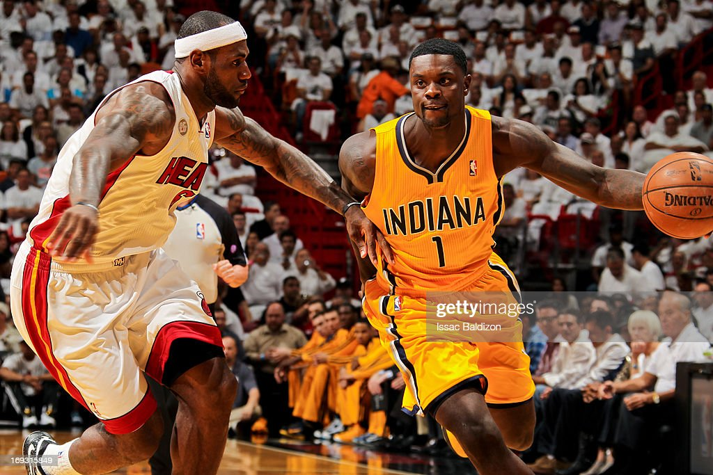Lance Stephenson #1 of the Indiana Pacers drives against LeBron James #6 of the Miami Heat in Game One of the Eastern Conference Finals during the 2013 NBA Playoffs on May 22, 2013 at American Airlines Arena in Miami, Florida.