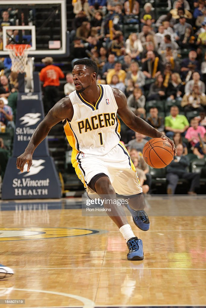 <a gi-track='captionPersonalityLinkClicked' href=/galleries/search?phrase=Lance+Stephenson&family=editorial&specificpeople=5298304 ng-click='$event.stopPropagation()'>Lance Stephenson</a> #1 of the Indiana Pacers drives against the Dallas Mavericks at Bankers Life Fieldhouse on October 16, 2013 in Indianapolis, Indiana.
