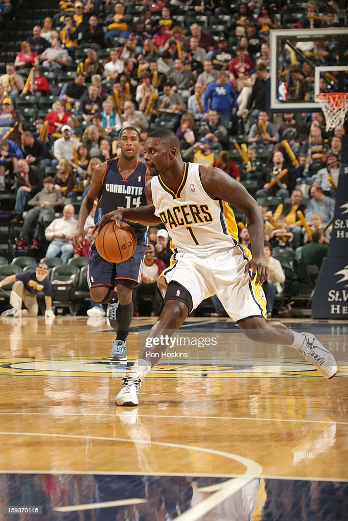 Lance Stephenson #1 of the Indiana Pacers drives the ball during the game between the Indiana Pacers and the Charlotte Bobcats on January 12, 2013 at Bankers Life Fieldhouse in Indianapolis, Indiana.