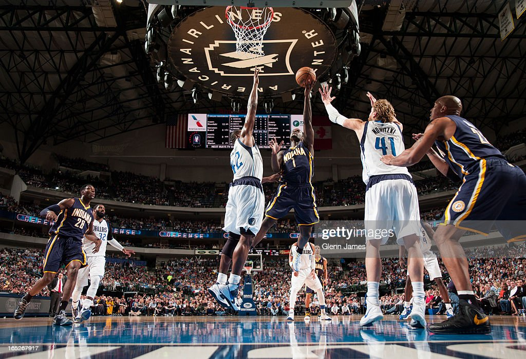 <a gi-track='captionPersonalityLinkClicked' href=/galleries/search?phrase=Lance+Stephenson&family=editorial&specificpeople=5298304 ng-click='$event.stopPropagation()'>Lance Stephenson</a> #1 of the Indiana Pacers drives to the basket against the Dallas Mavericks on March 28, 2013 at the American Airlines Center in Dallas, Texas.